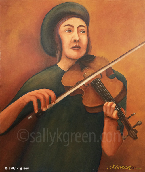 woman playing a violin